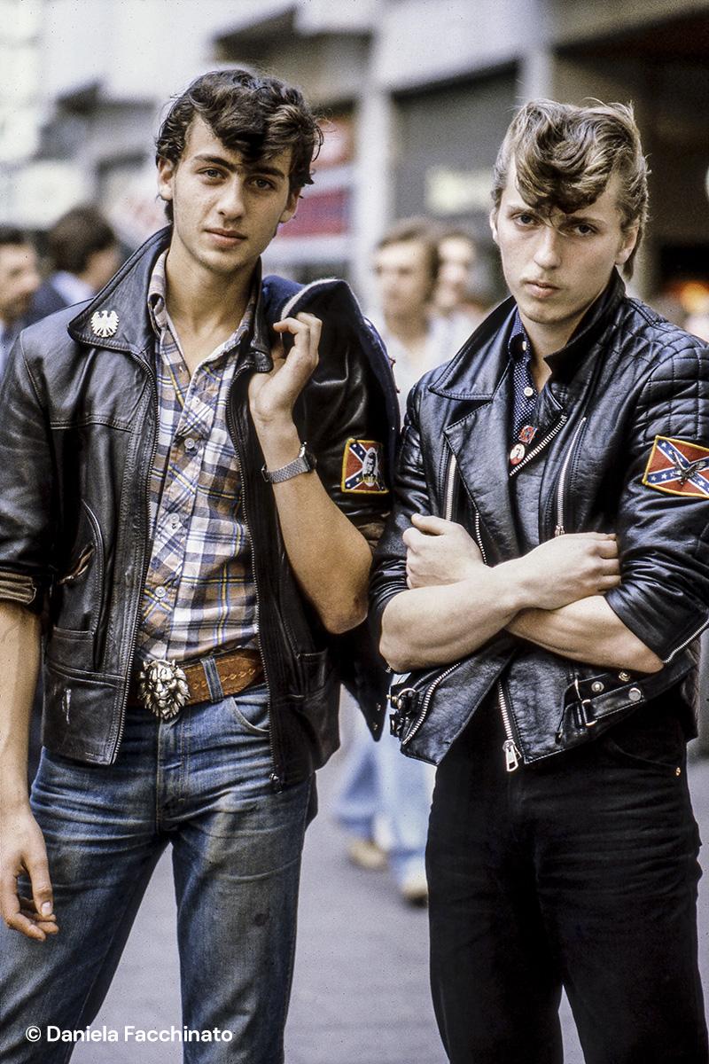 Rockabilly boys along the Kurfürstendamm. Berlin 1981
