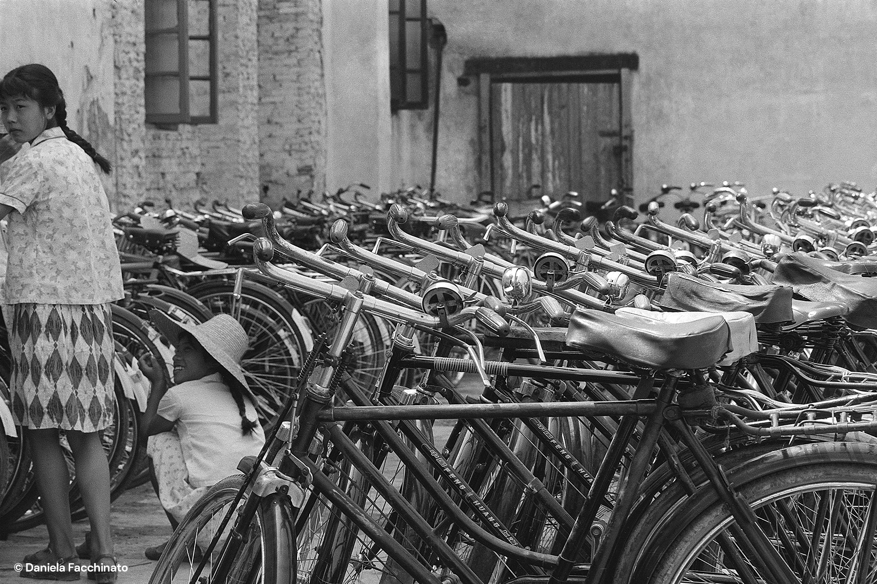 Wuhan, Hubei, China, 1976. Bicycles were the common means of transport at Mao Zedong's days