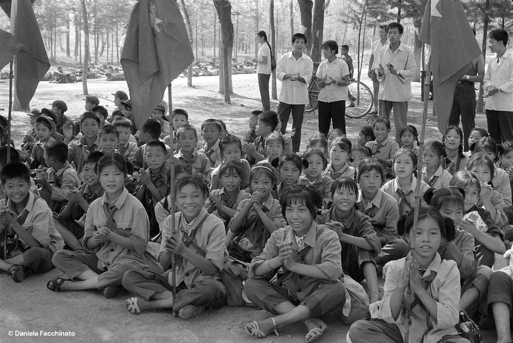 China, 1976. Schoolchildren during a military training exercise