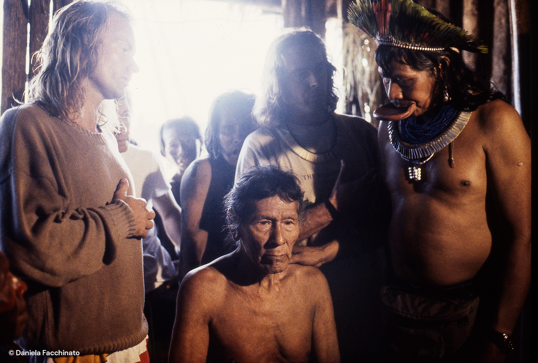 Amazonia, Xingù. Sting and Raoni during the meeting with the heads of other Xingù tribes