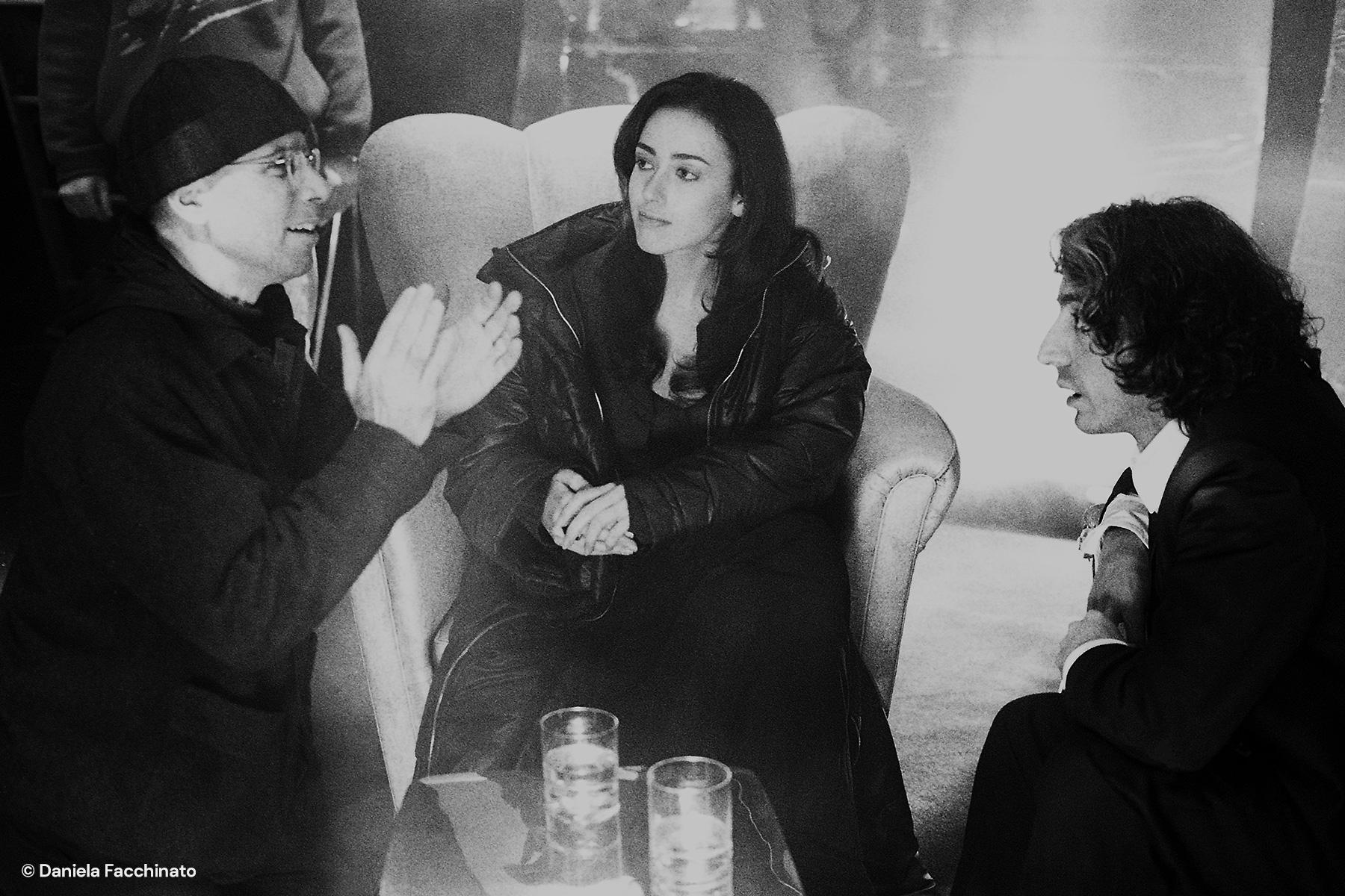 "Film director Salvatores with actors Anita Caprioli and Sergio Rubini on the ""Denti"" set"