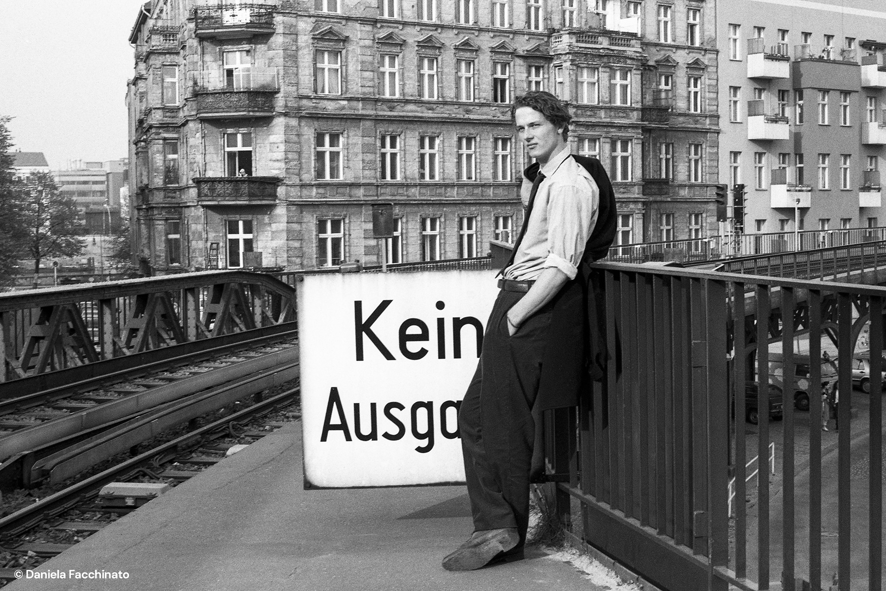 West Berlin 1988. Elevated railway. Adv. campaign for Massimo Osti
