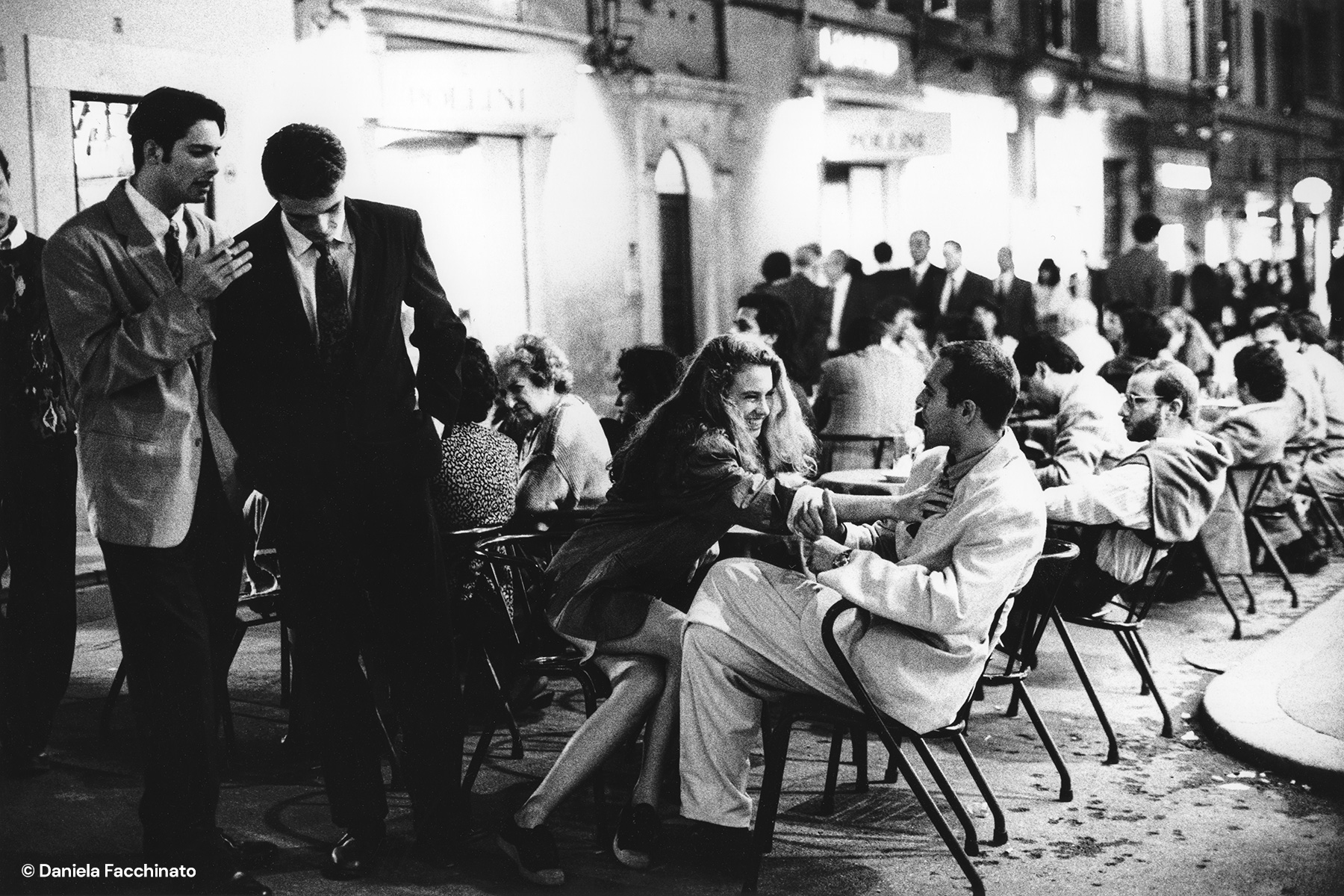Rome 1989. Actress Ivonne Sciò and artist Renzini at the table of a Roman cafe. Adv. Campaign for M. O.
