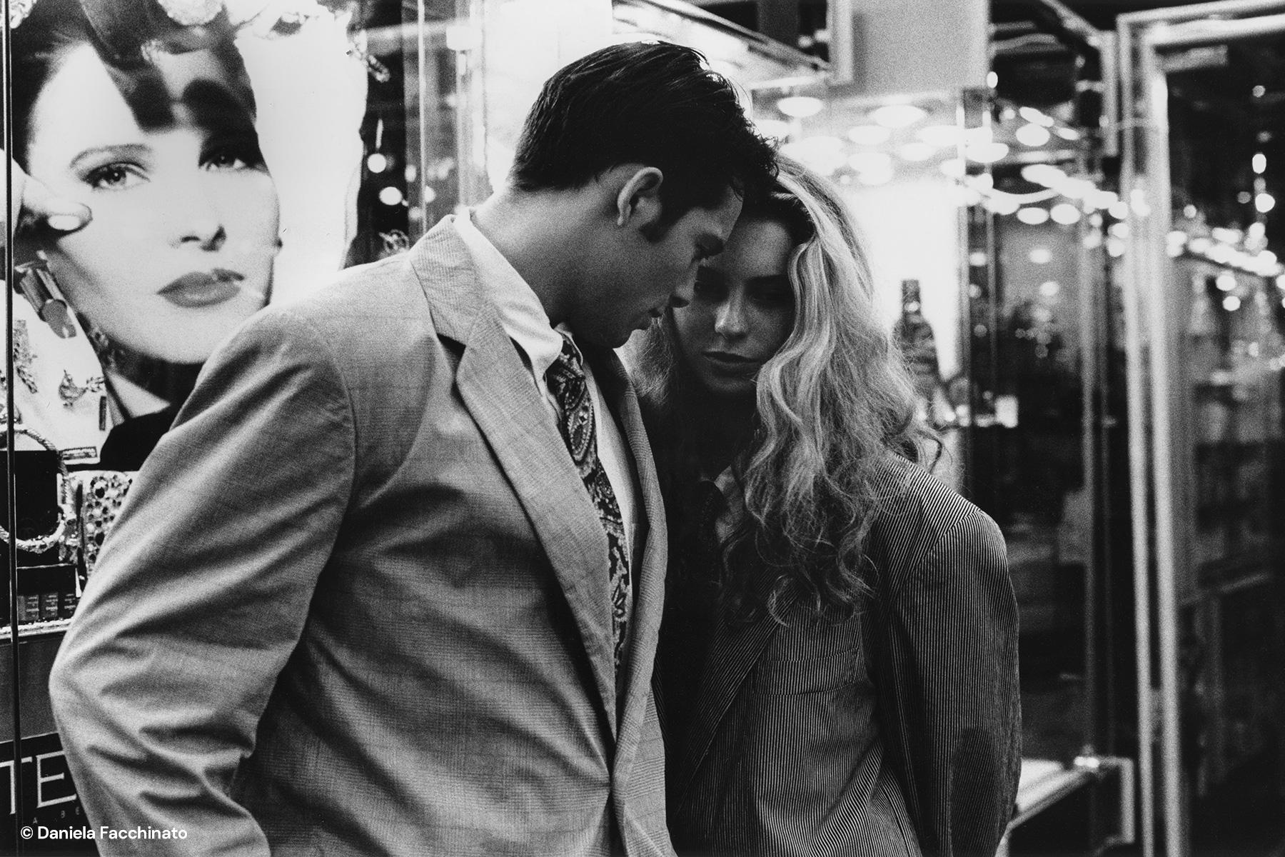 Rome 1989. Acrtess Ivonne Sciò with a model in Via Condotti. Adv. campaign for Massimo Osti