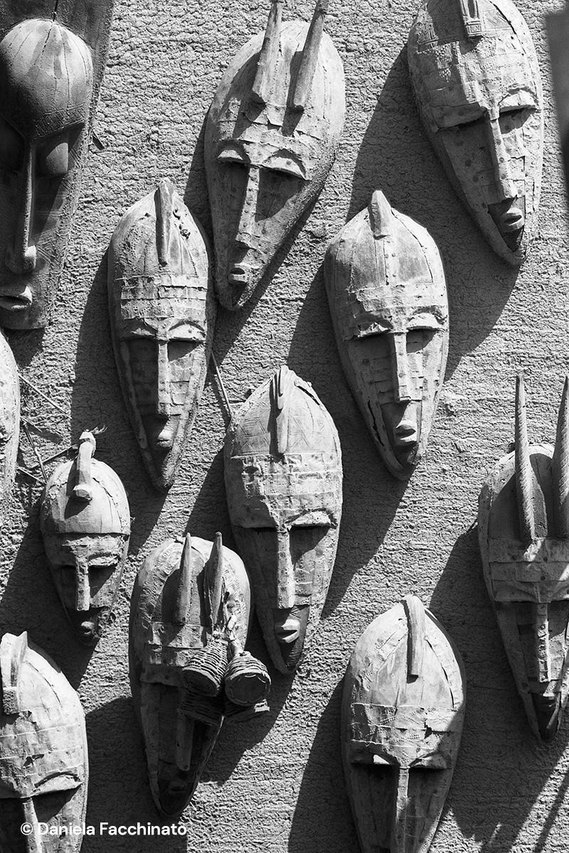 Bandiagara, Mali 1989. Dogon masks worn to perform in ceremonies