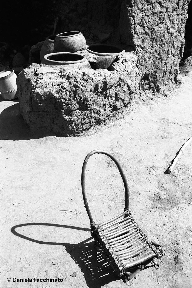 Bambara village, Mali, 1989. Mud kitchen