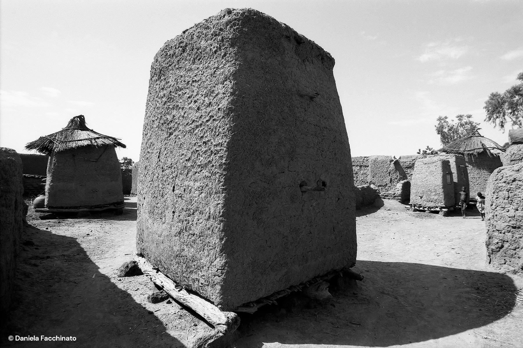 Bambara village, Mali, 1989. Mud granaries